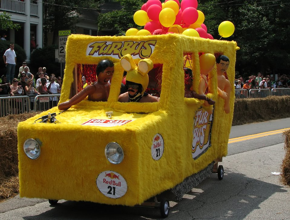 A yellow race car at the 2009 Red Bull Soap Box Derby in Atlanta, Georgia : Free Stock Photo