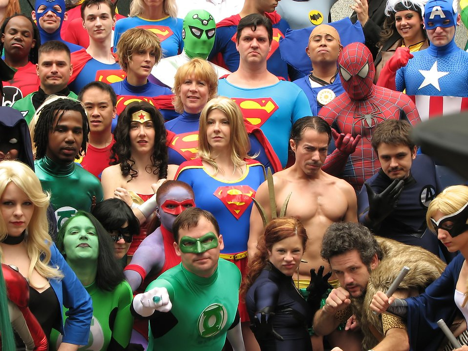 A group of superheroes in costume at Dragoncon 2009 in Atlanta, Georgia : Free Stock Photo