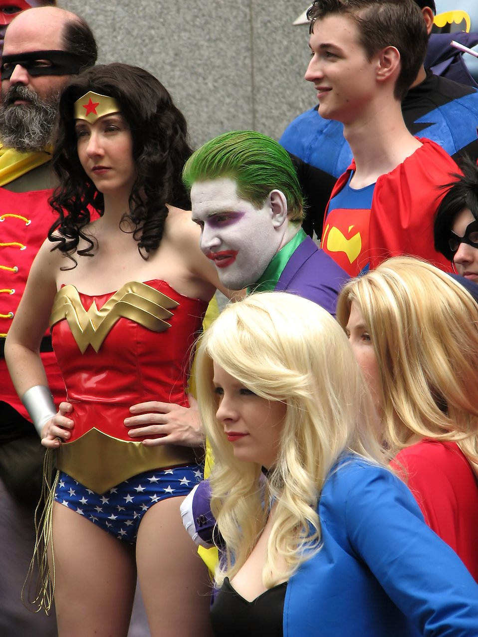 A group of superheroes in costume at Dragoncon 2009 in Atlanta, Georgia.