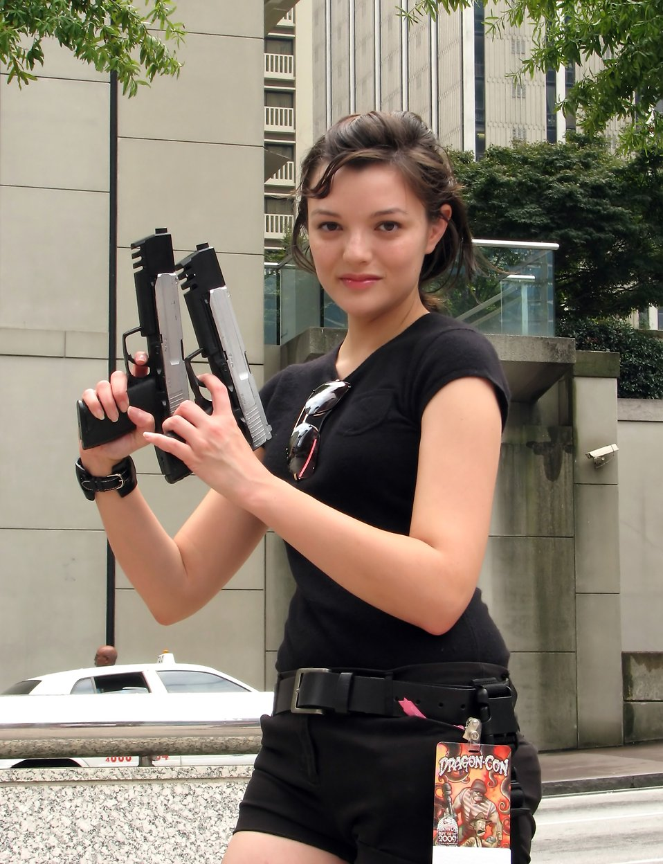 A beautiful girl in a Lara Croft costume at Dragoncon 2009 in Atlanta, Georgia : Free Stock Photo