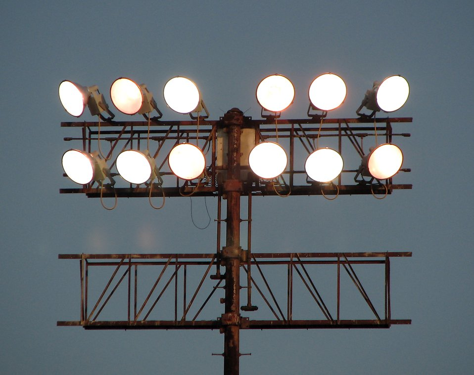 Large floodlights on a pole.