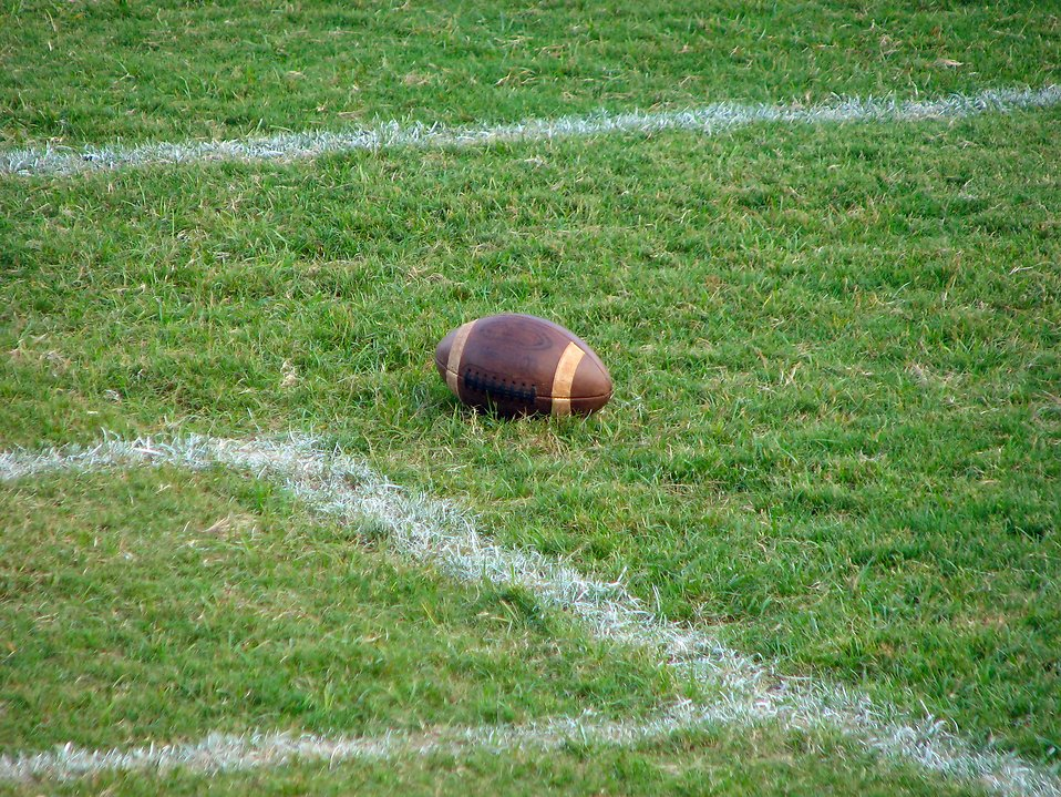 A football in the grass on a field : Free Stock Photo