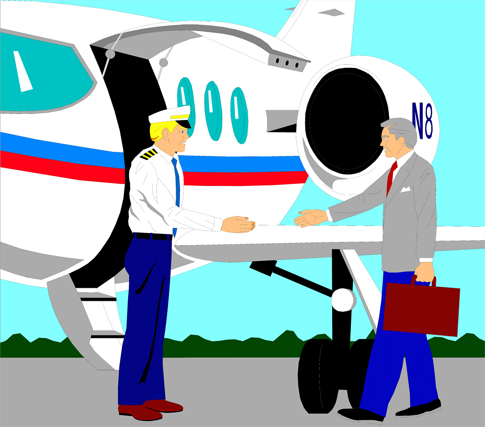 Illustration of a corporate jet pilot greeting a business man : Free Stock Photo
