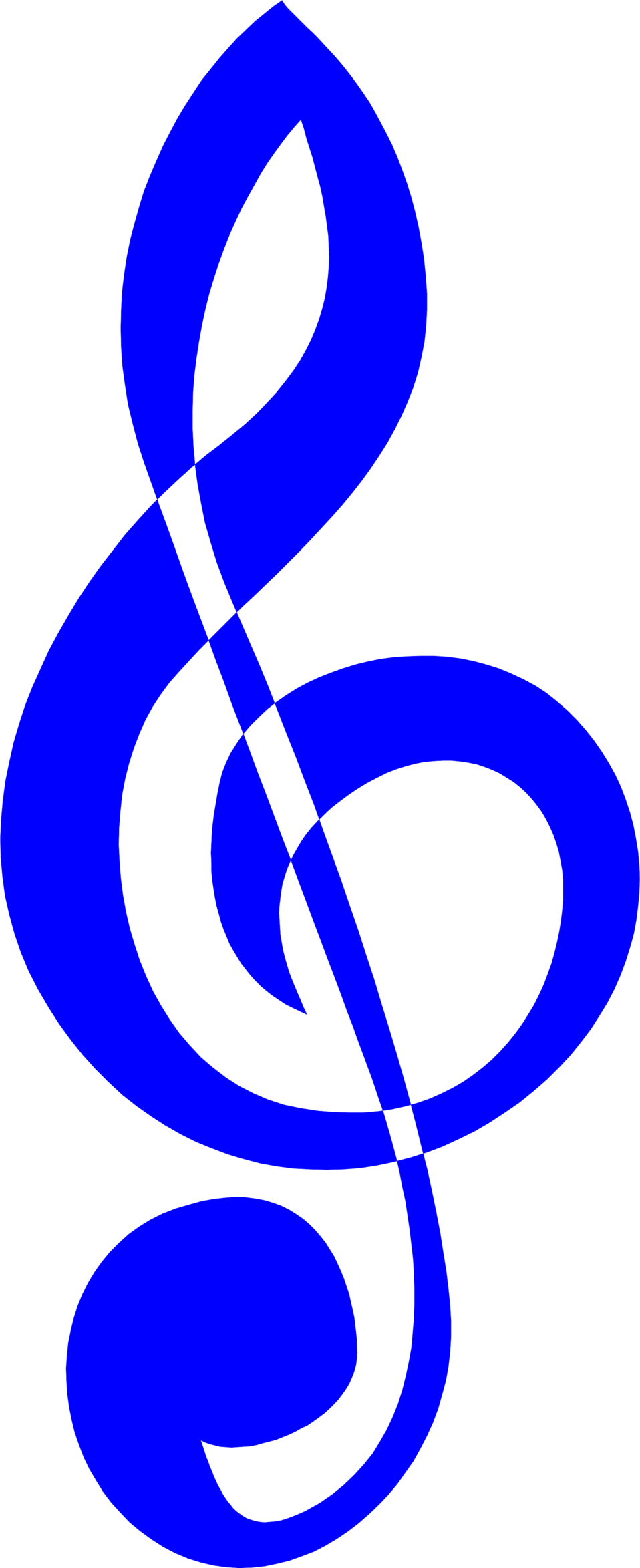 Illustration of a blue treble clef music symbol : Free Stock Photo