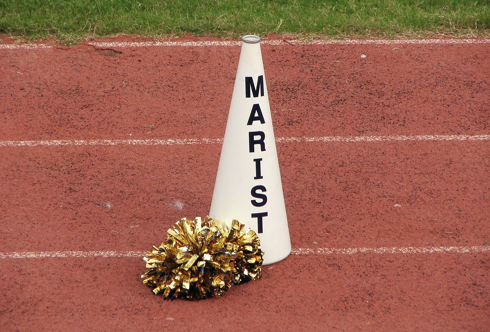 A cheerleader pom pom and megaphone on a track field : Free Stock Photo