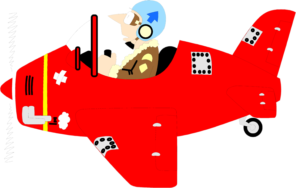 Illustration of a man flying a small red plane : Free Stock Photo