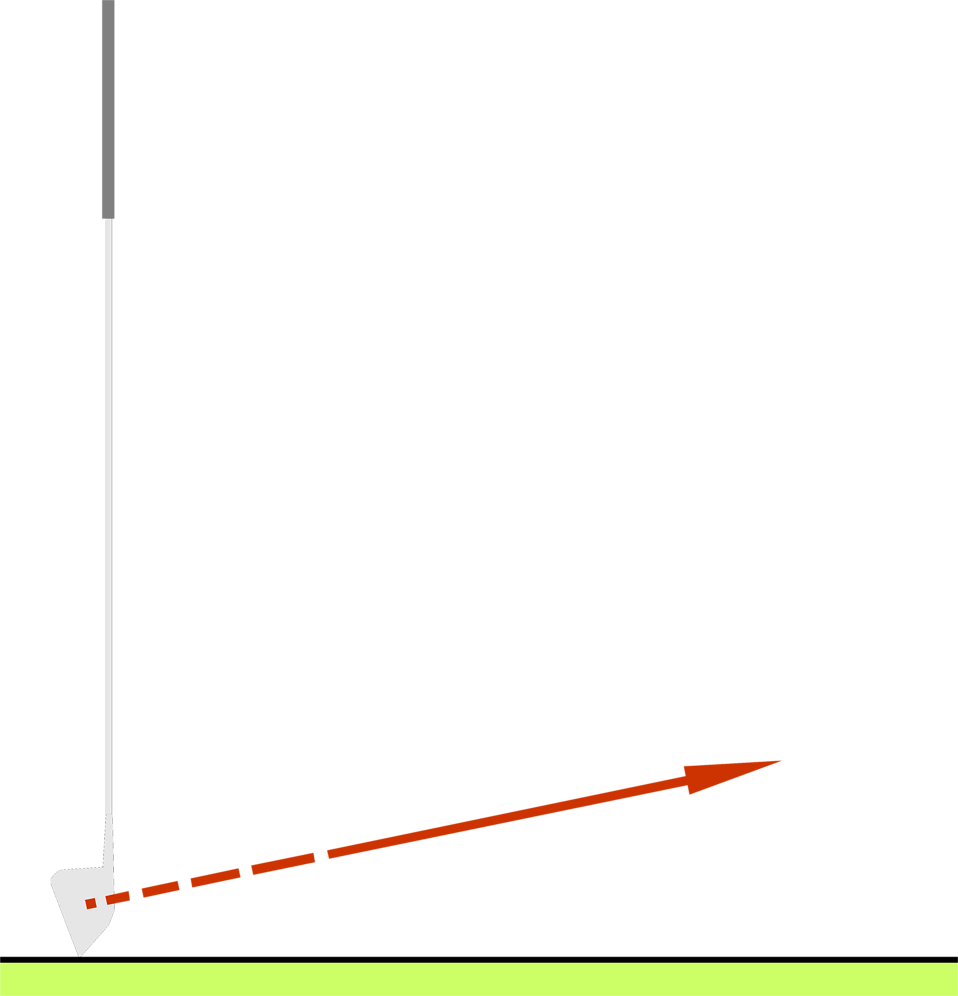 Illustration of a golf club with a red aiming arrow : Free Stock Photo