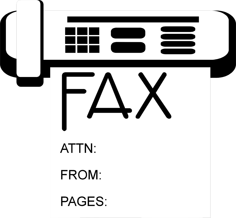 Illustration of a fax machine with fax output : Free Stock Photo