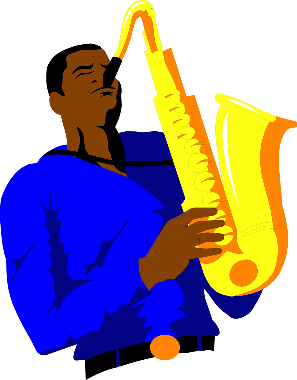 Illustration of an African American man playing the saxophone : Free Stock Photo