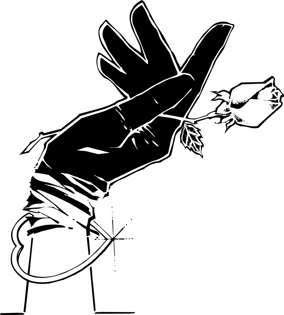 Illustration of a hand in a black glove holding a rose : Free Stock Photo