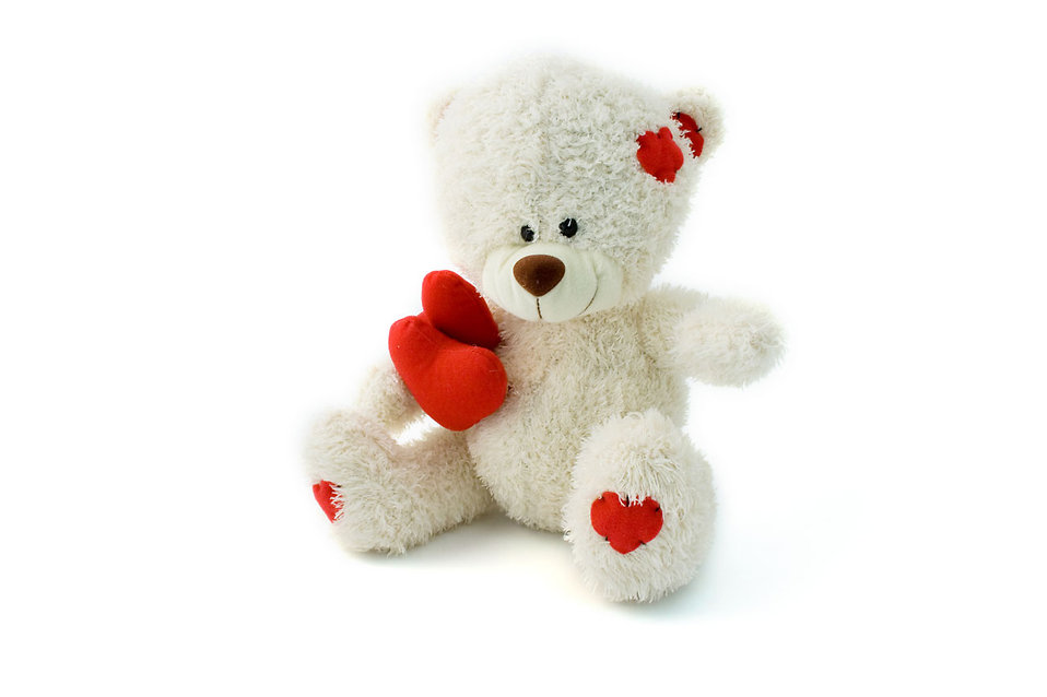 A white teddy bear with hearts isolated on a white background : Free Stock Photo