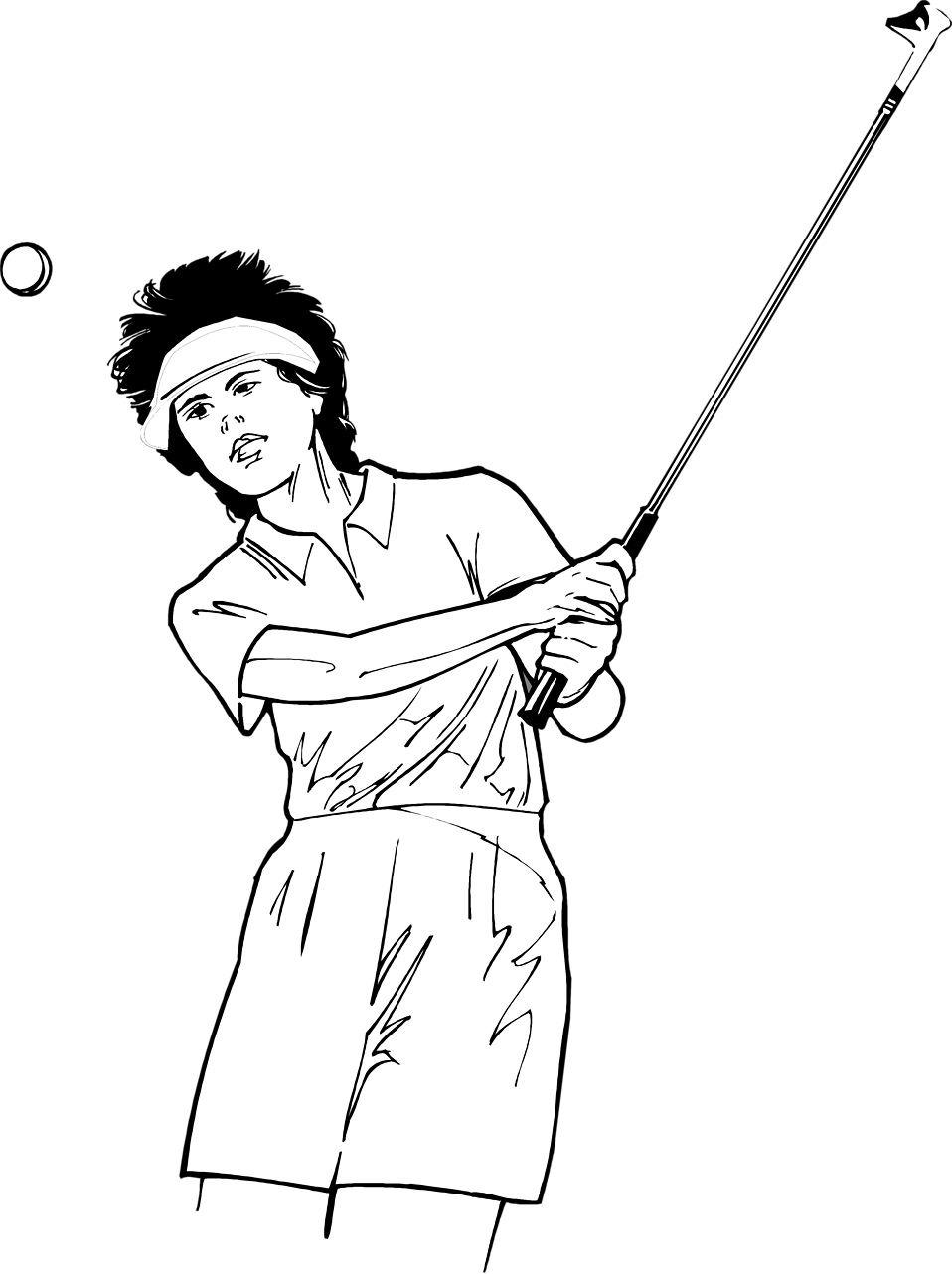 Illustration of a woman golfer hitting a ball : Free Stock Photo