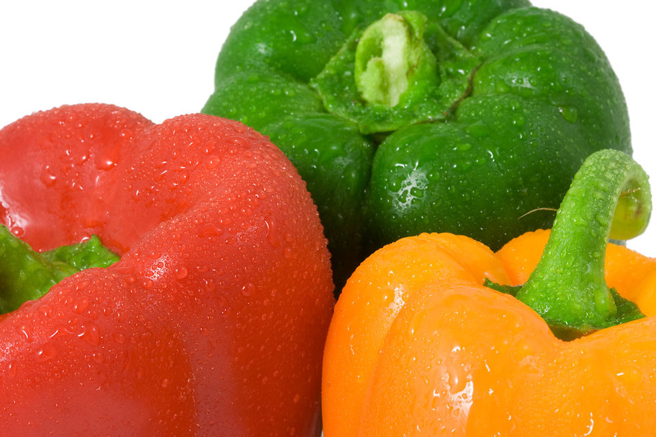 Close-up of three colored peppers : Free Stock Photo