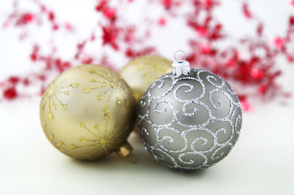gold and silver christmas ornaments free stock photo
