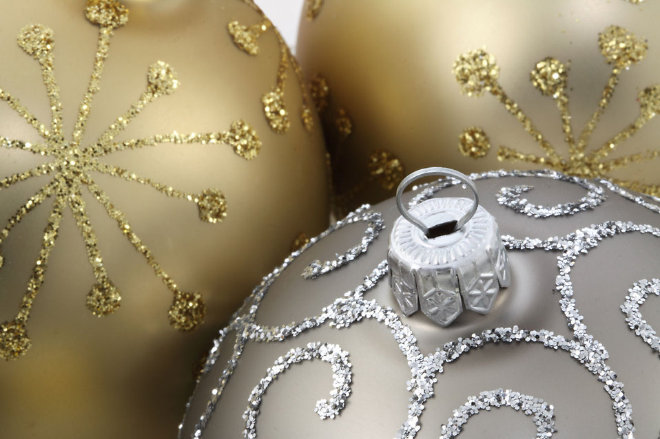 Close-up of gold and silver Christmas ornaments : Free Stock Photo