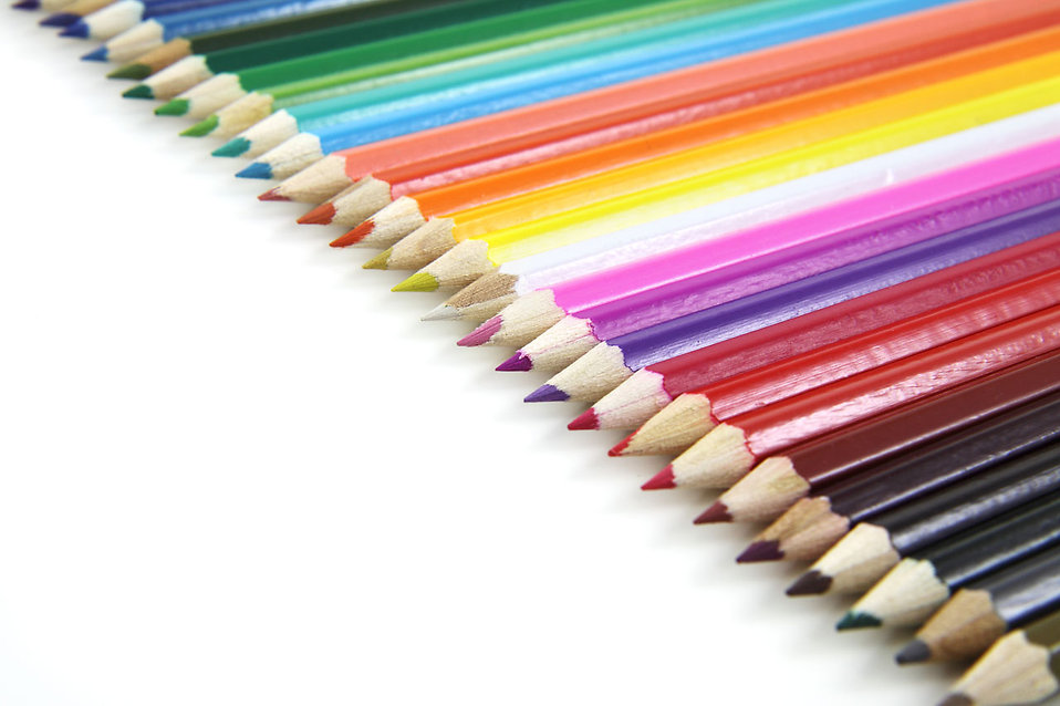 Colored pencils isolated on a white background : Free Stock Photo