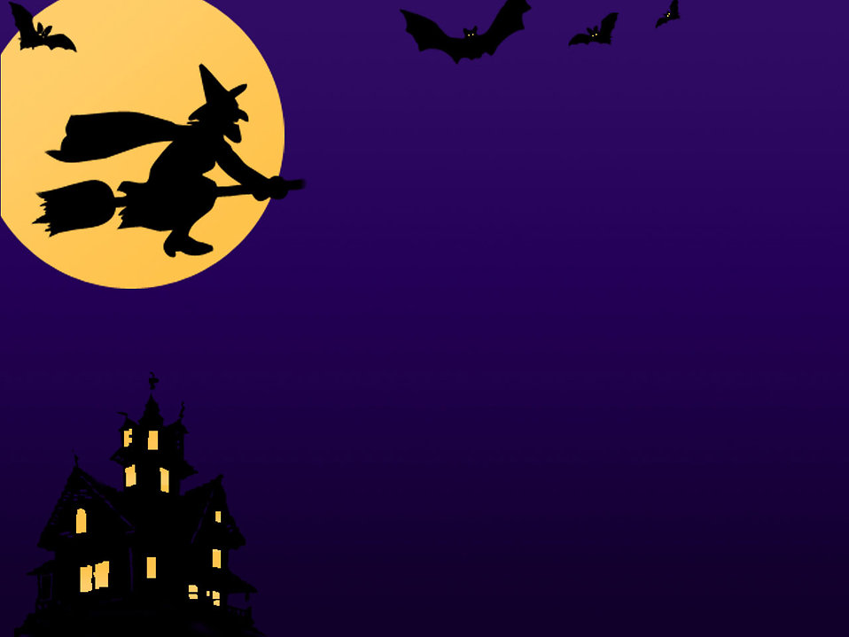 A Halloween background with a witch, bats and a haunted house : Free Stock Photo