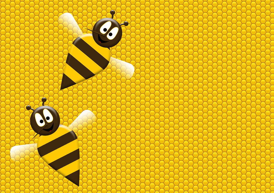 Illustration of two bees on a honeycomb : Free Stock Photo
