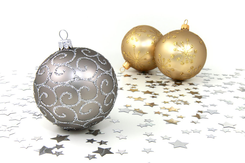 silver and gold christmas ornaments with silver stars on a white floor free stock photo - White And Gold Christmas Ornaments