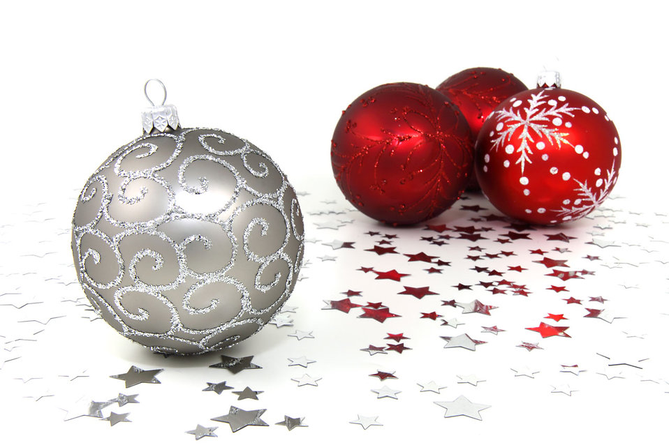 red and silver christmas ornaments with silver stars on a white floor free stock photo - Red And Silver Christmas Decorations