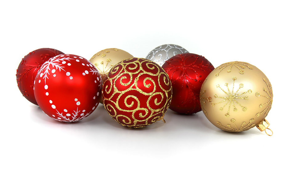 Christmas ornaments isolated on a white background : Free Stock Photo