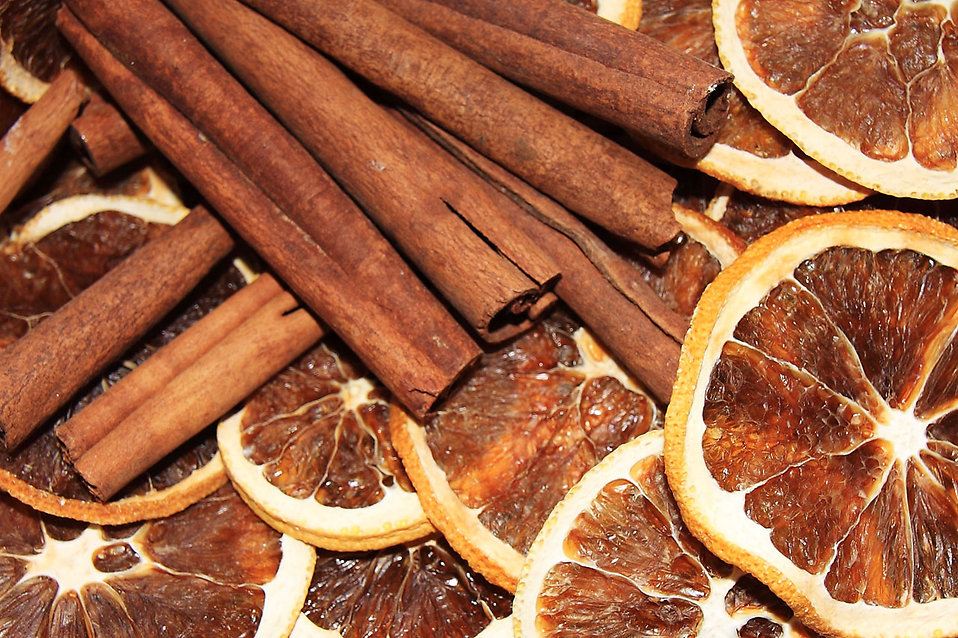 Cinnamon sticks with dried orange slices : Free Stock Photo