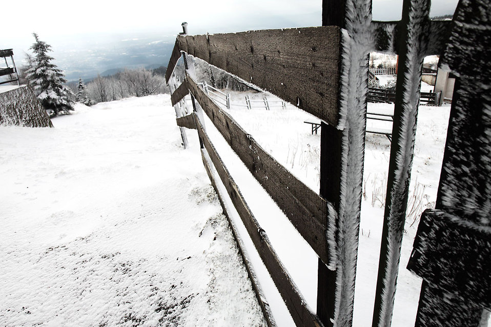 A fence on a mountain in winter : Free Stock Photo