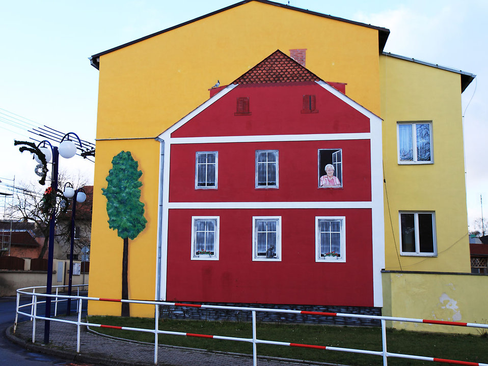 A picture of a house painted on another house : Free Stock Photo