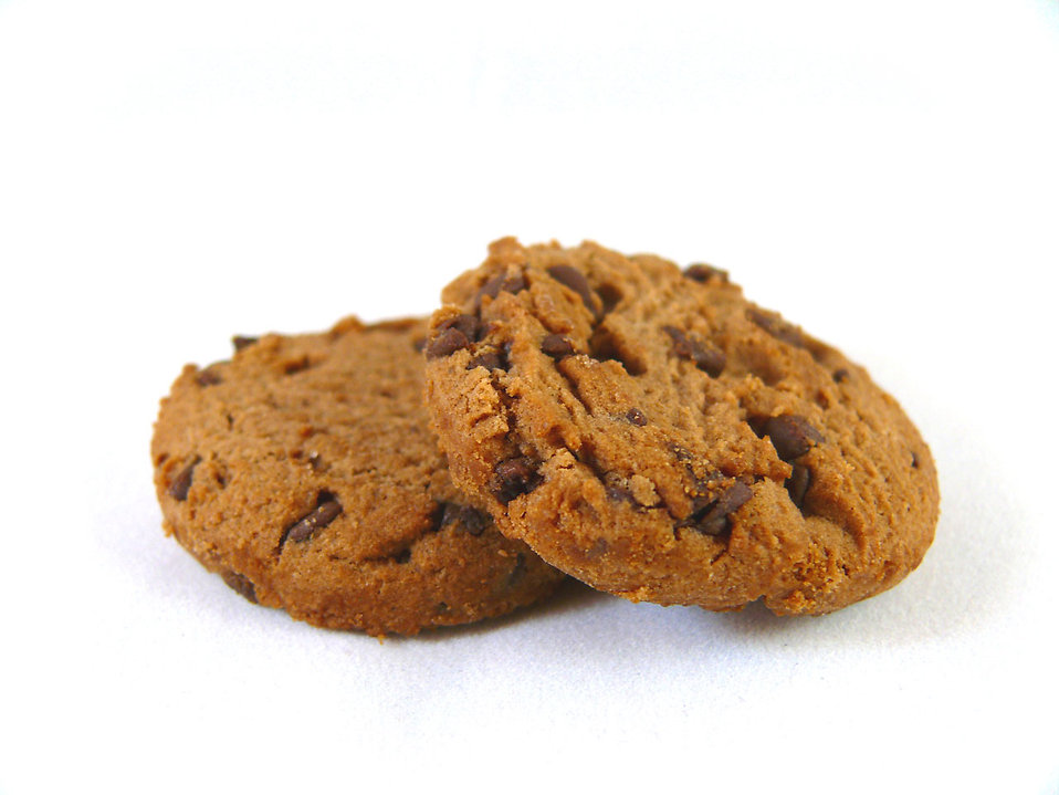 Chocolate chip cookies isolated on a white background : Free Stock Photo