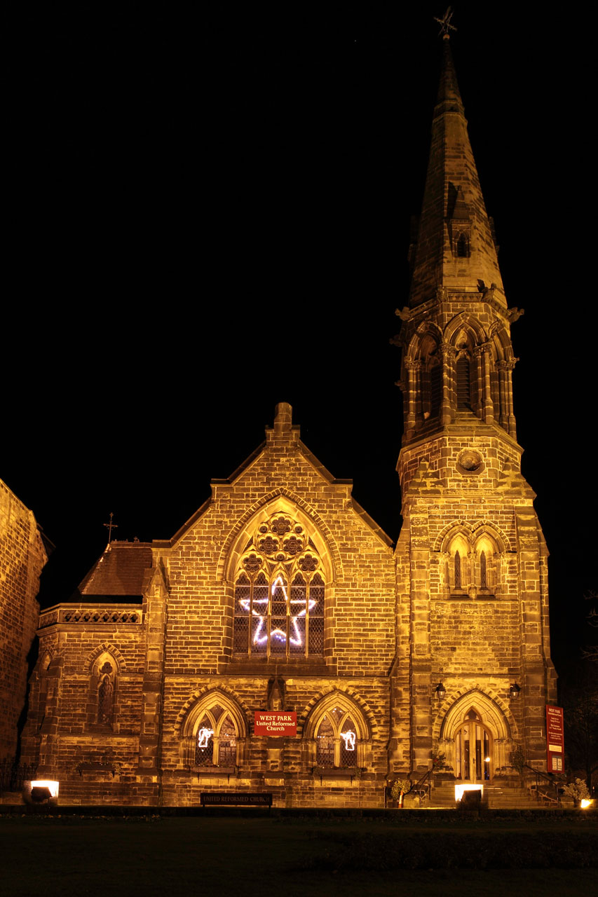 A church lit at night : Free Stock Photo