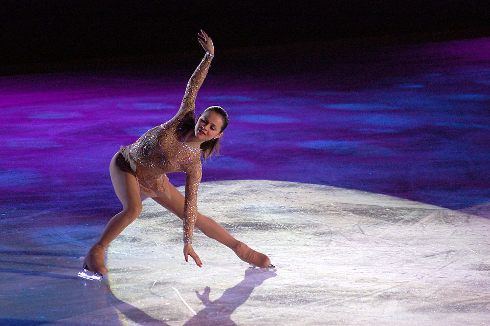 Figure skater Sasha Cohen at Skating Club of Boston Ice Chips performance in Allston, MA : Free Stock Photo