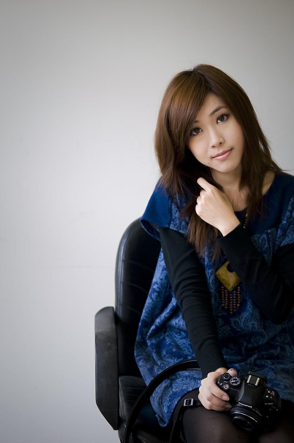 photography camera girl. A beautiful Chinese girl