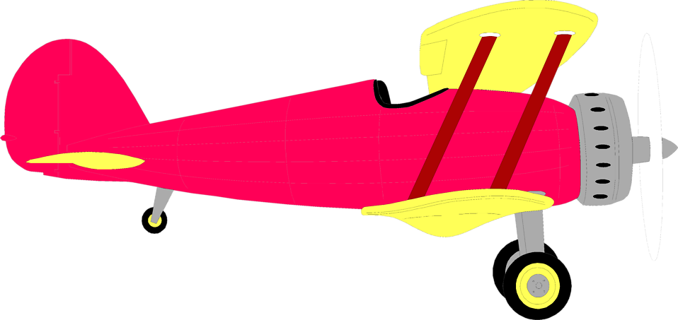 Illustration of a red biplane : Free Stock Photo