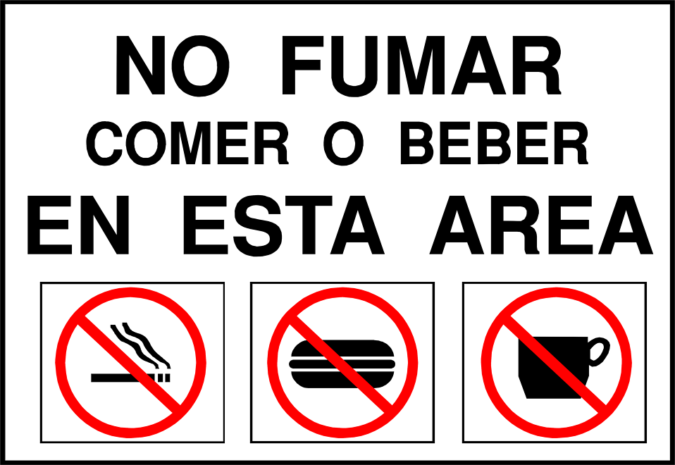 Illustration of a no smoking, eating or drinking sign in Spanish : Free Stock Photo