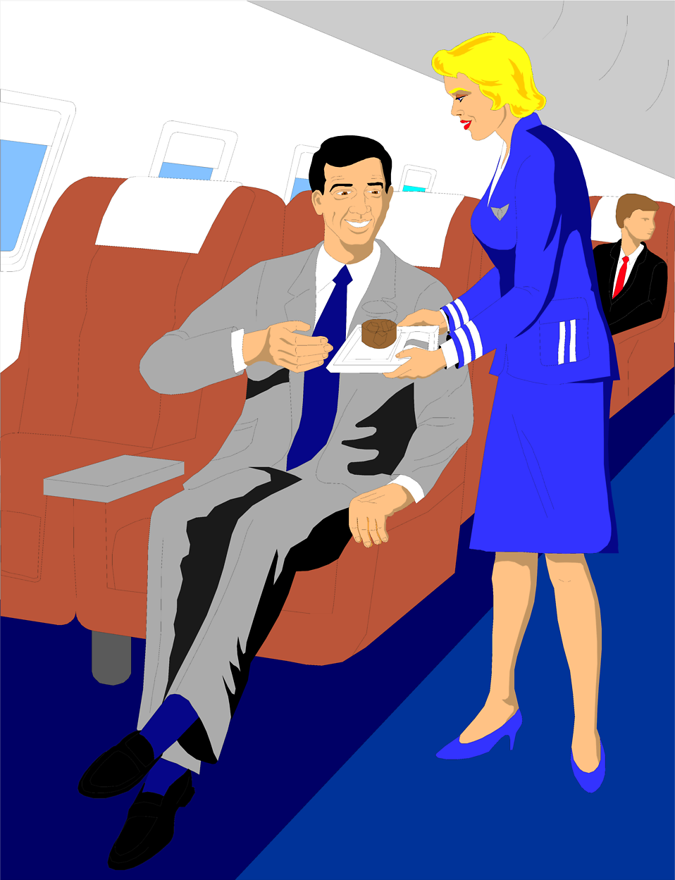 Illustration of a businessman being served a drink on a plane : Free Stock Photo