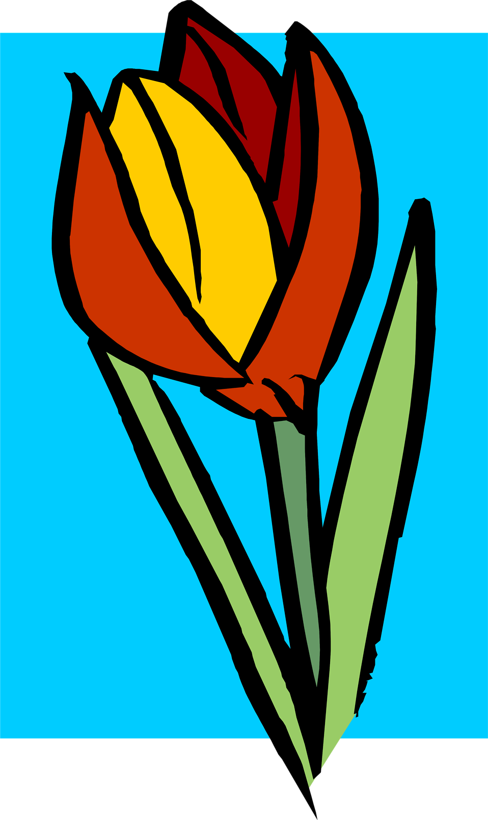 Illustration of a red and yellow flower : Free Stock Photo
