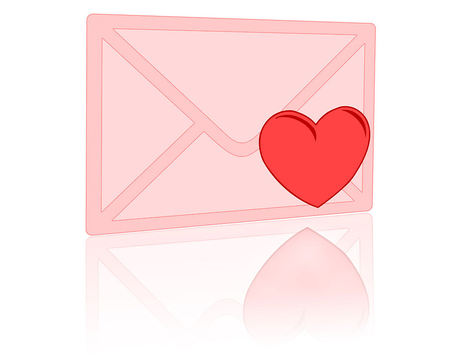 Illustration of a pink envelope with a red heart : Free Stock Photo