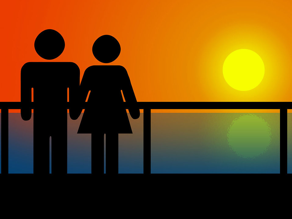 couple holding hands in sunset. Illustration of a couple
