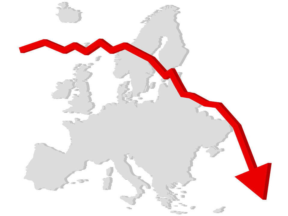 Falling graph with a map of Europe : Free Stock Photo