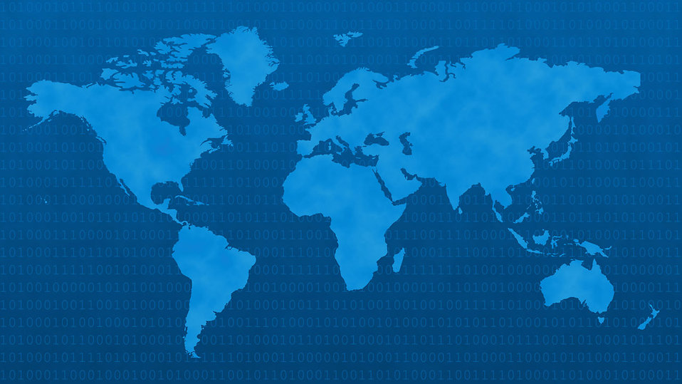 Blue world map with binary code : Free Stock Photo
