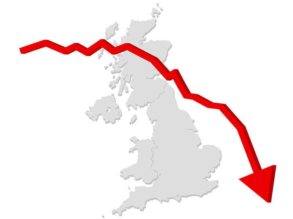 Falling graph with a map of the United Kingdom : Free Stock Photo