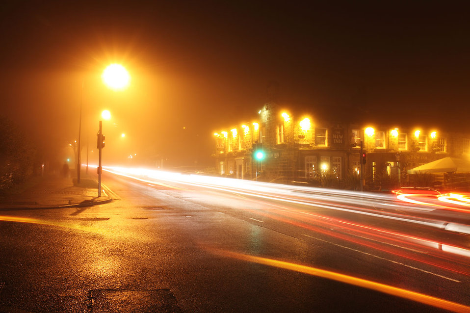Traffic in a foggy night : Free Stock Photo