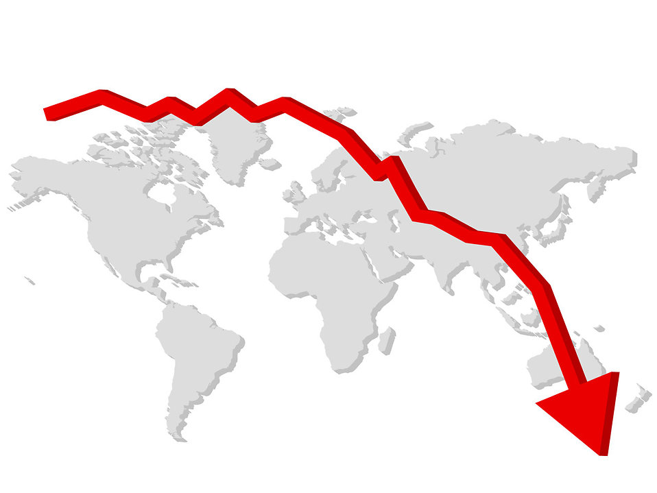 Falling graph with a map of the world.