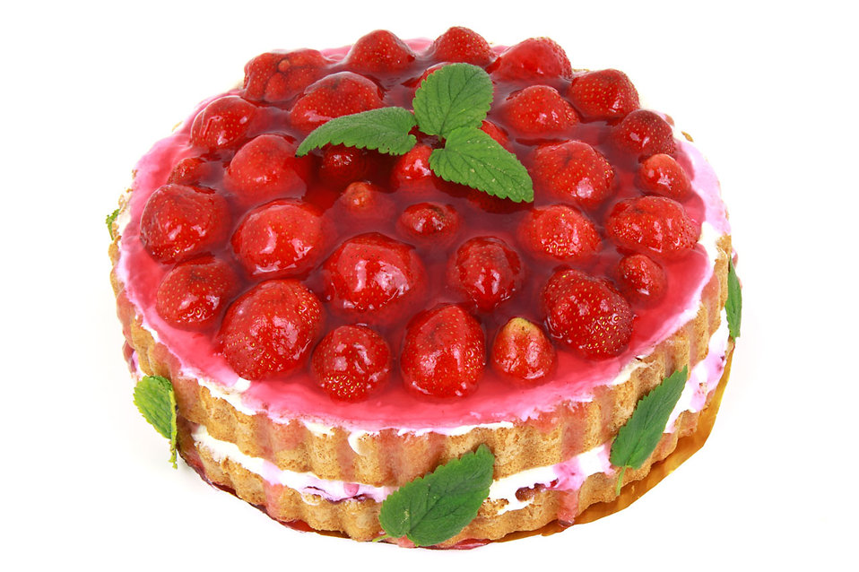 Cake Free Stock Photo A Strawberry Cake Isolated On A