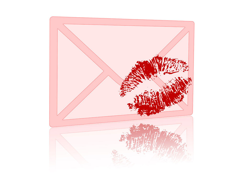 Illustration of a pink envelope with a kiss on it : Free Stock Photo