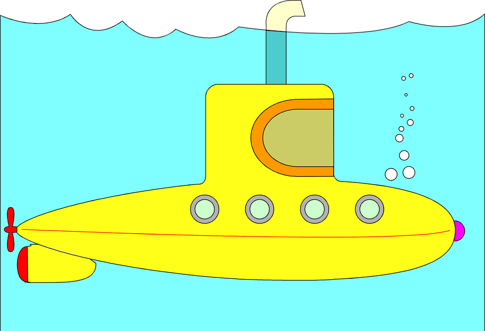 Illustration of a yellow submarine : Free Stock Photo