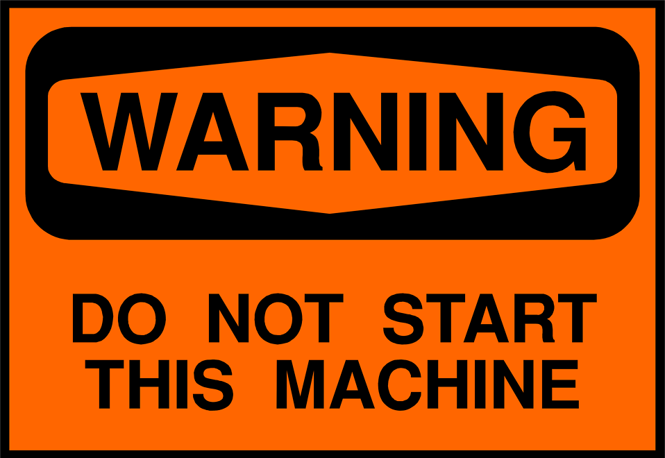 Illustration of a machine warning sign : Free Stock Photo