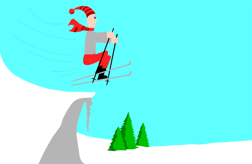 Illustration of a man jumping on skis : Free Stock Photo