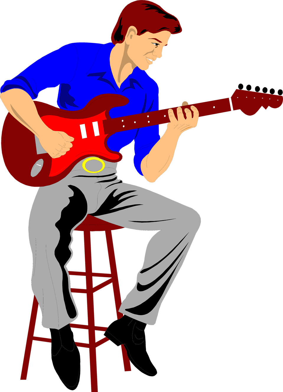 Illustration of a man playing an electric guitar : Free Stock Photo