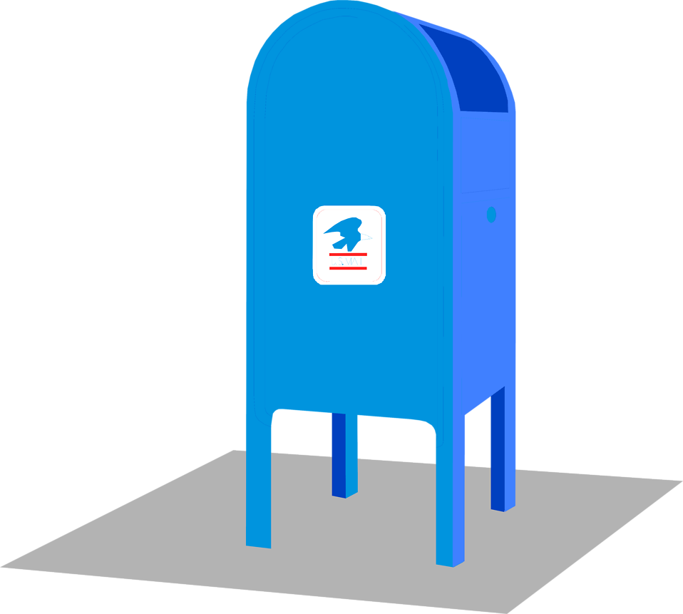 Illustration of a blue mail box : Free Stock Photo
